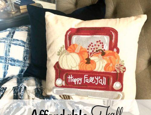Fall truck throw pillow