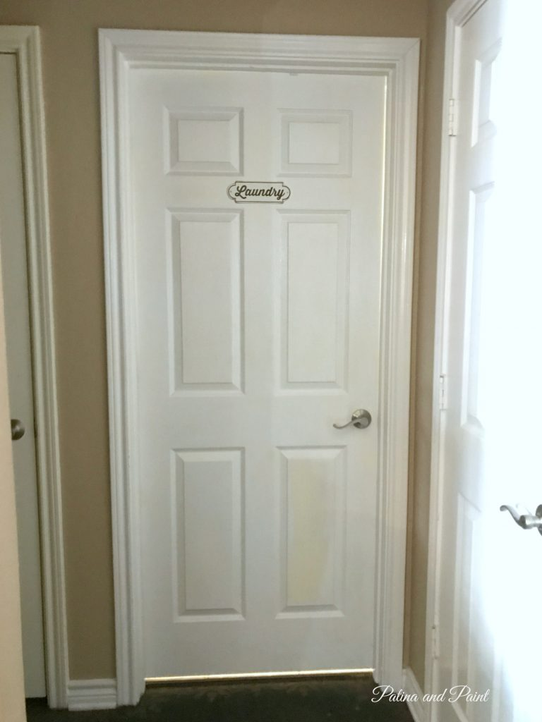 door with laundry sign