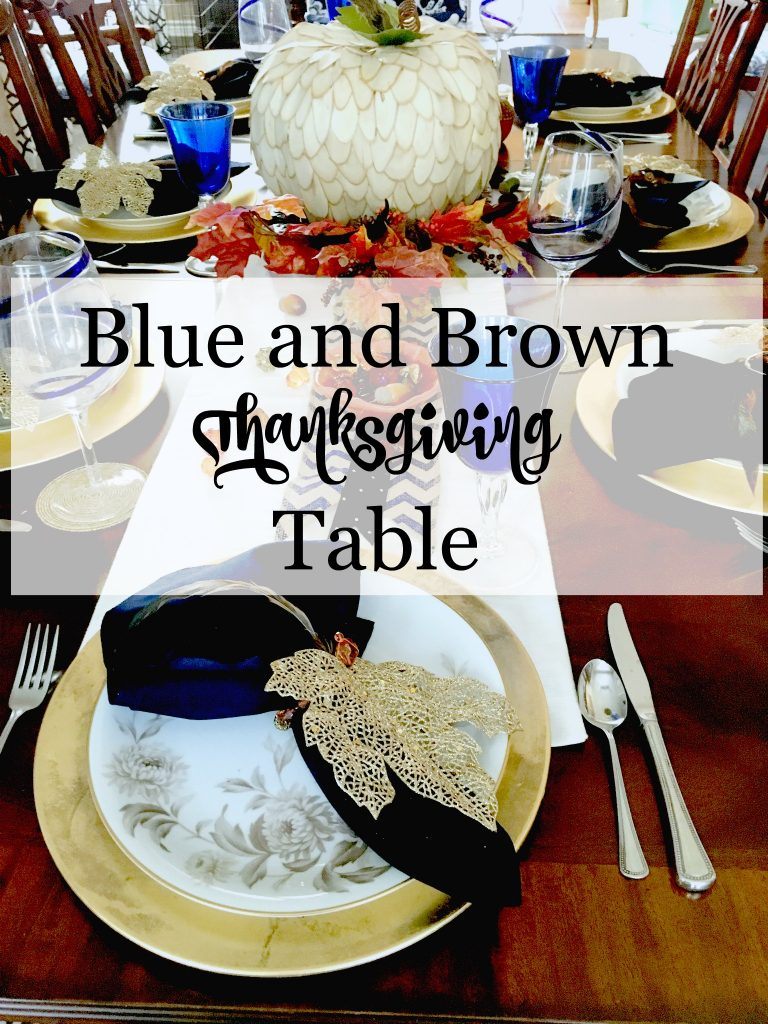Blue and Brown Thanksgiving Table 11