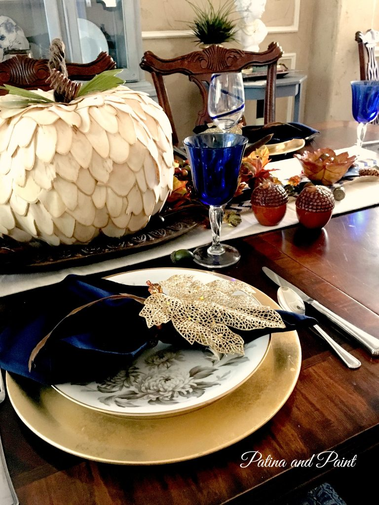Blue and Brown Thanksgiving table 2
