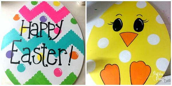 Happy Easter egg door hanger and chick door hanger