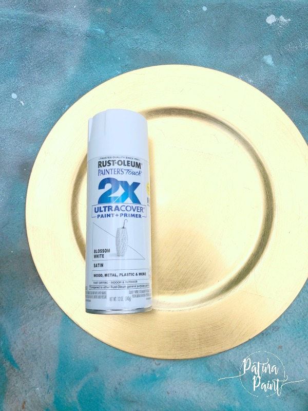 rust-Oleum paint and gold charger