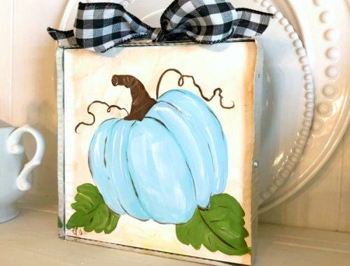 Blue pumpkin wood and metal art
