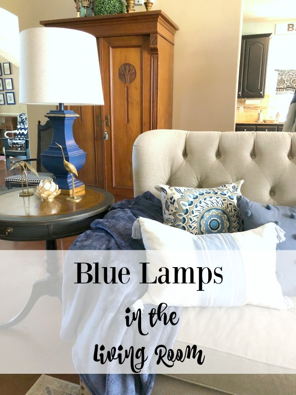 blue lamps in the living room
