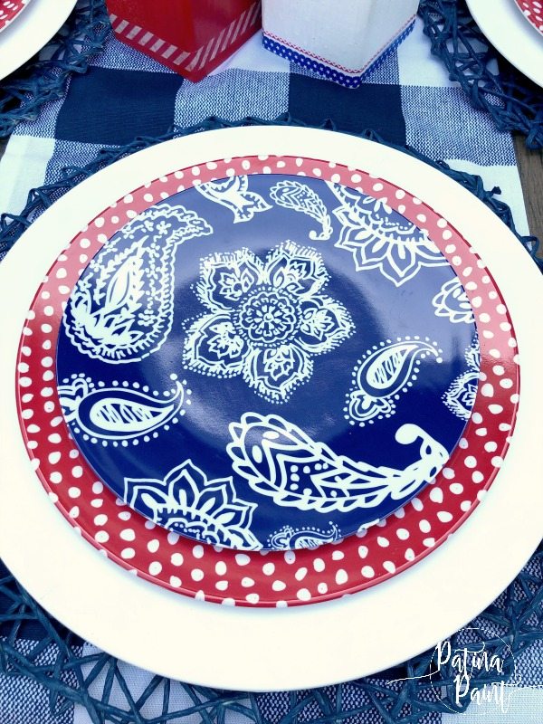 red, white and blue plates