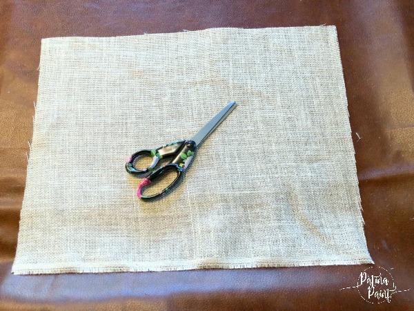 Burlap material, scissors