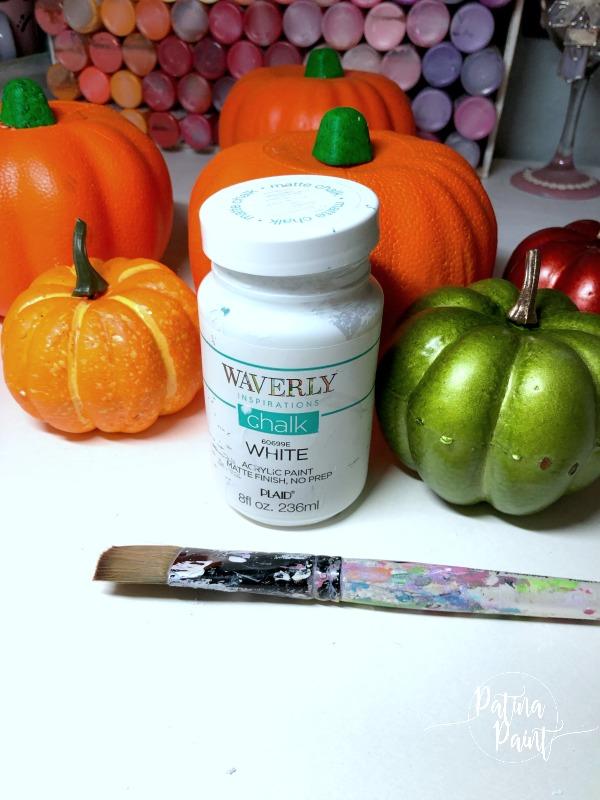 Dollar Tree Pumpkins, chalk paint