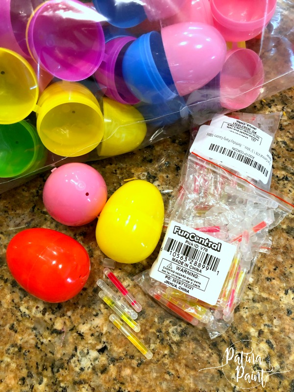 eggs, glow sticks
