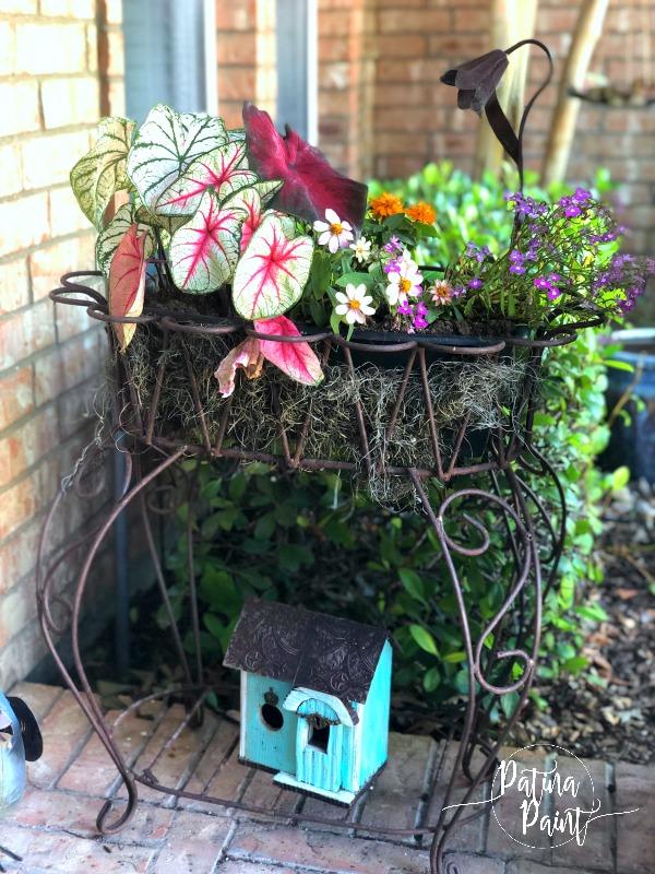 Flowers, planter, birdhouse
