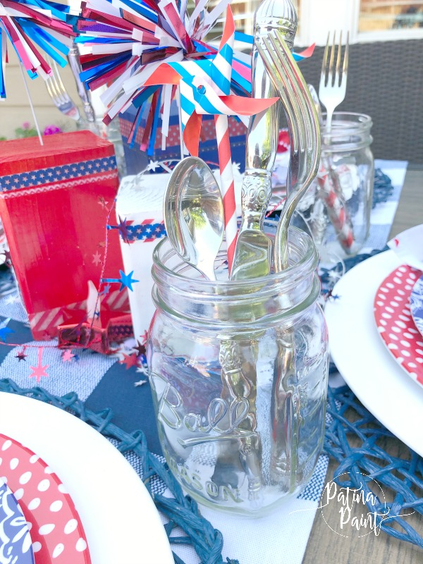 mason jar with silverware