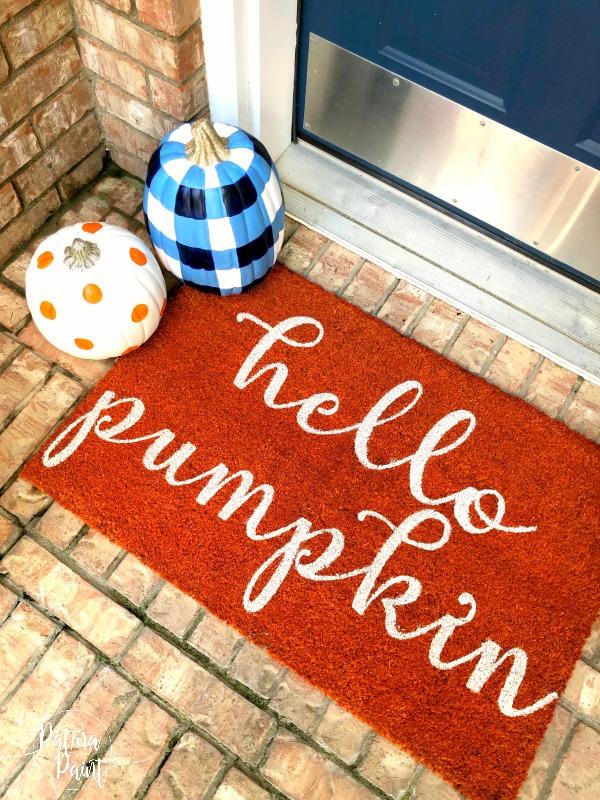 Painted Pumpkins and door mat
