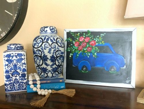 truck, painting, chinoiserie vases