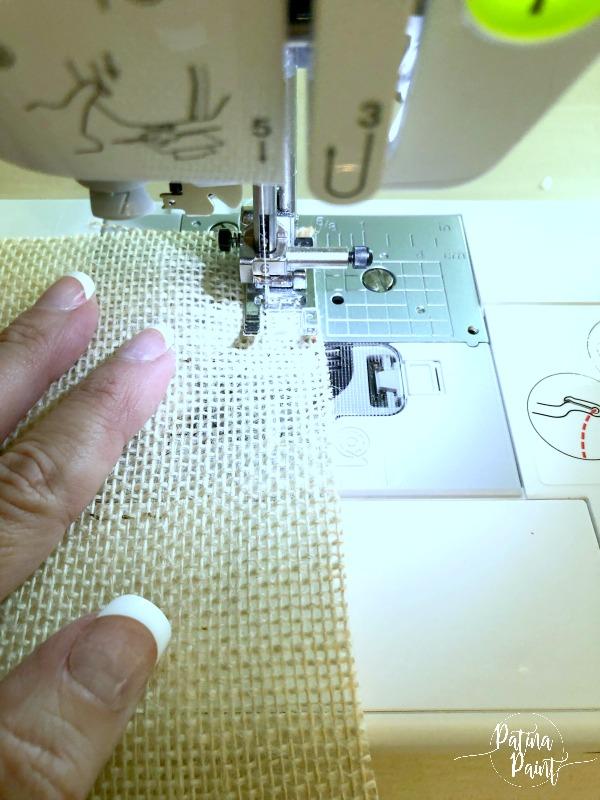 sewing machine, burlap material