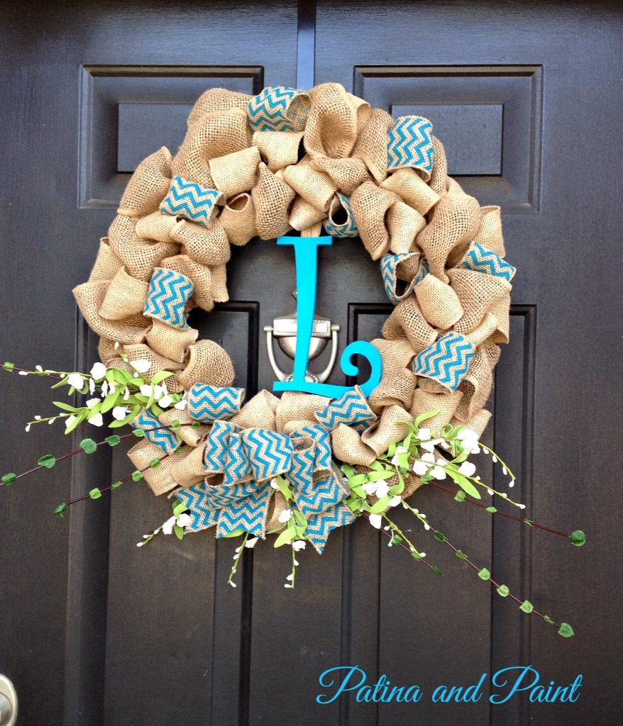 burlap wreath for spring patina and paint